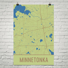 Minnetonka MN Street Map Poster Green