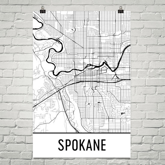 Spokane WA Street Map Poster White