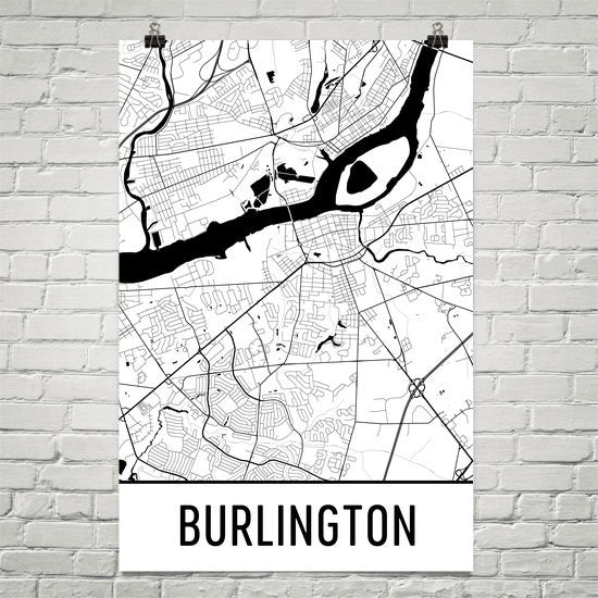 Burlington NJ Street Map Poster White