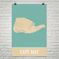 Cape May NJ Street Map Poster Black