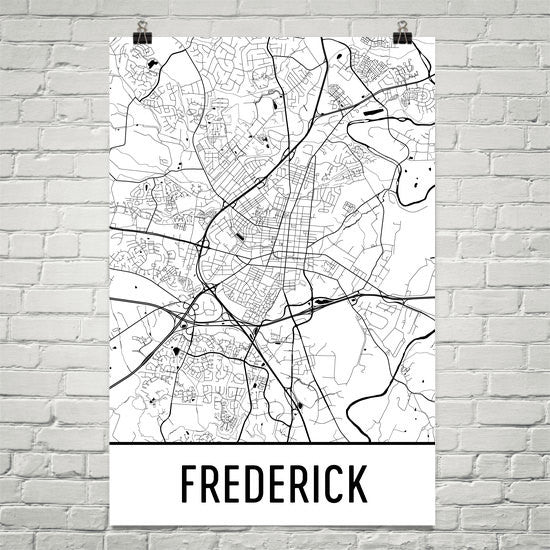 Frederick MD Street Map Poster White