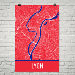 Lyon France Map Street Map Poster Red