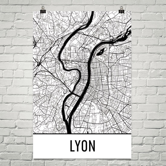 Lyon France Map Street Map Poster White