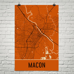 Macon GA Street Map Poster Orange