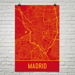 Madrid Spain Street Map Poster Red