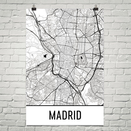 Madrid Spain Street Map Poster White