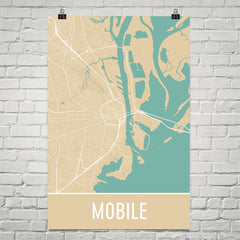 Mobile AL Street Map Poster Black