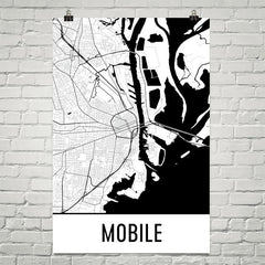 Mobile AL Street Map Poster Tan and Blue
