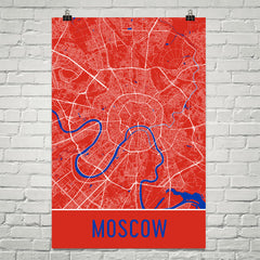 Moscow Street Map Poster Red