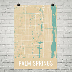 Palm Springs FL Street Map Poster Black
