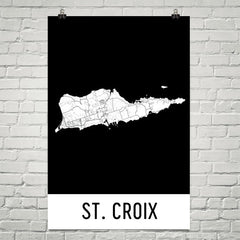 St. Croix Street Map Poster Tan and Blue