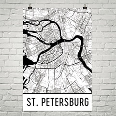 St. Petersburg Russia Street Map Poster White
