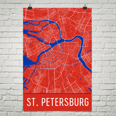 St. Petersburg Russia Street Map Poster Red