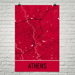 Athens Street Map Poster Red