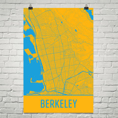 Berkeley CA Street Map Poster Blue