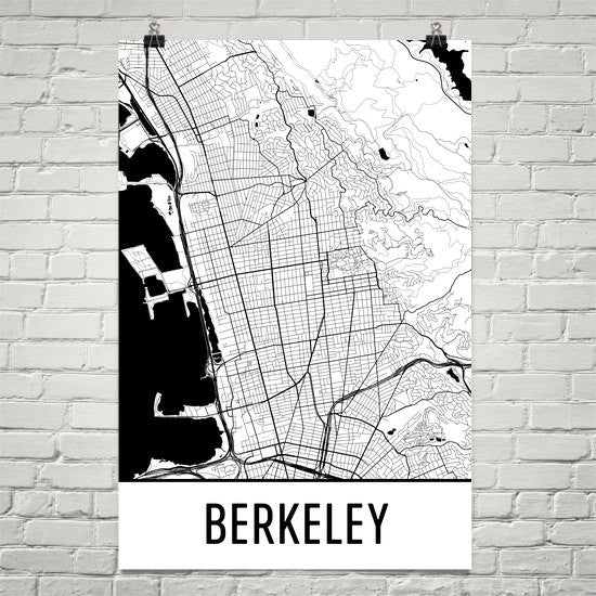 Berkeley CA Street Map Poster White