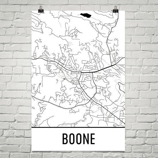 Boone NC Street Map Poster White