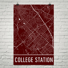 College Station TX Street Map Poster Red