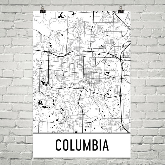 Columbia MO Street Map Poster White