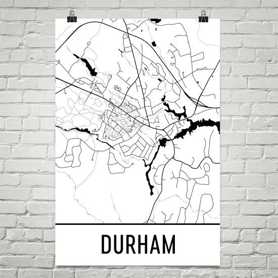 Durham NH Street Map Poster White
