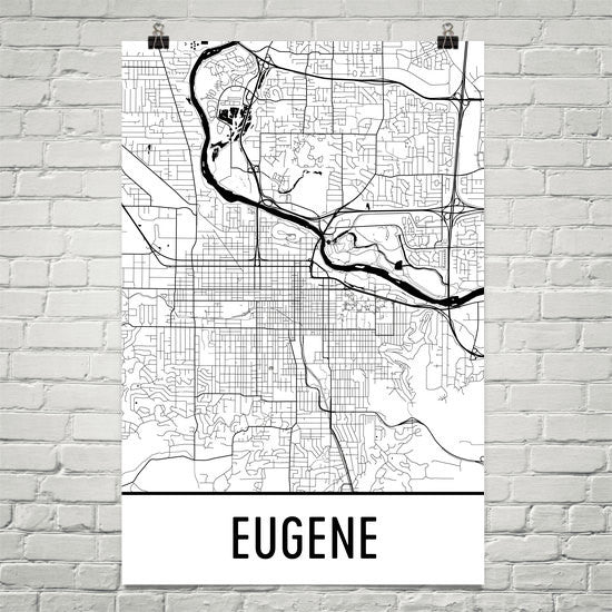 Eugene OR Street Map Poster White