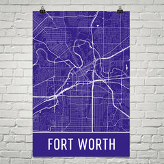 Fort Worth TX Street Map Poster Purple