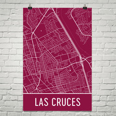 Las Cruces NM Street Map Poster Red