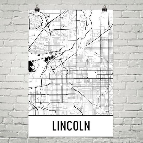 Lincoln NE Street Map Poster White