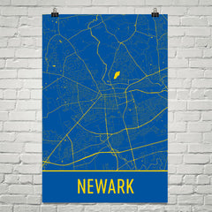 Newark DE Street Map Poster Blue