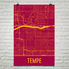 Tempe AZ Street Map Poster Red