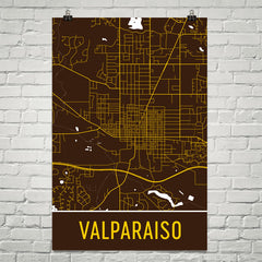 Valparaiso IN Street Map Poster Brown