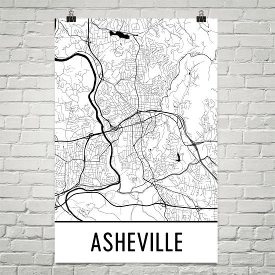 Asheville Street Map Poster White
