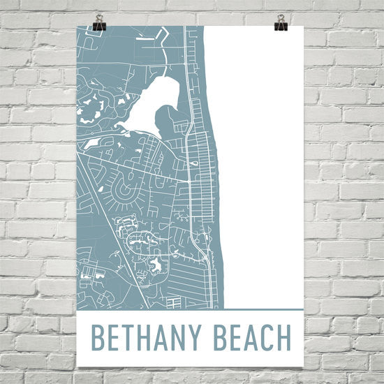 Bethany Beach DE Street Map Poster White