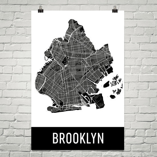 Brooklyn NY Street Map Poster White Text