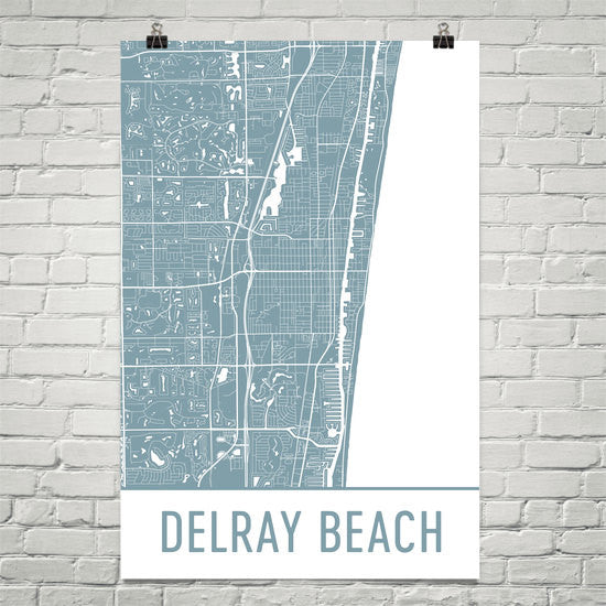 Delray Beach FL Street Map Poster White
