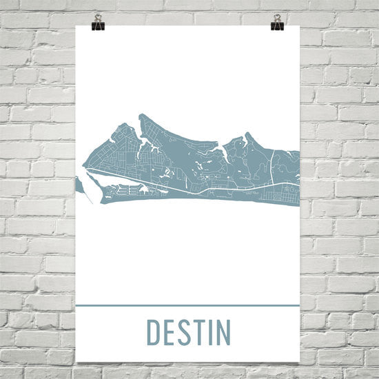 Destin Beach FL Street Map Poster White