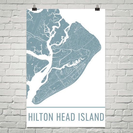 Hilton Head Island Street Map Poster White