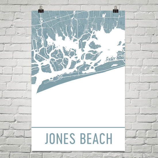 Jones Beach NY Street Map Poster White