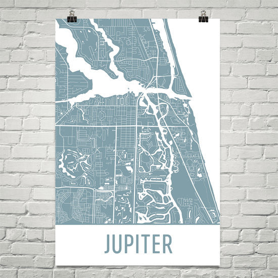 Jupiter FL Street Map Poster White