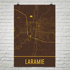 Laramie WY Street Map Poster Brown