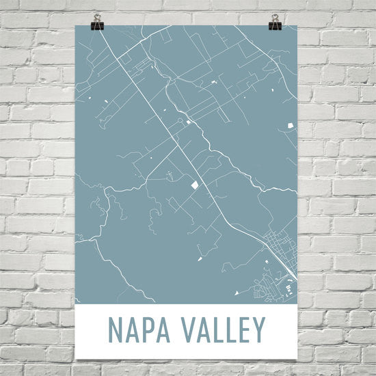 Napa Valley CA Street Map Poster Blue