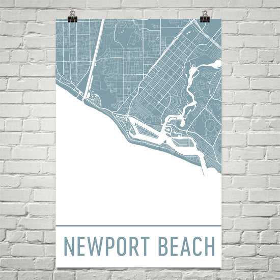 Newport Beach CA Street Map Poster White