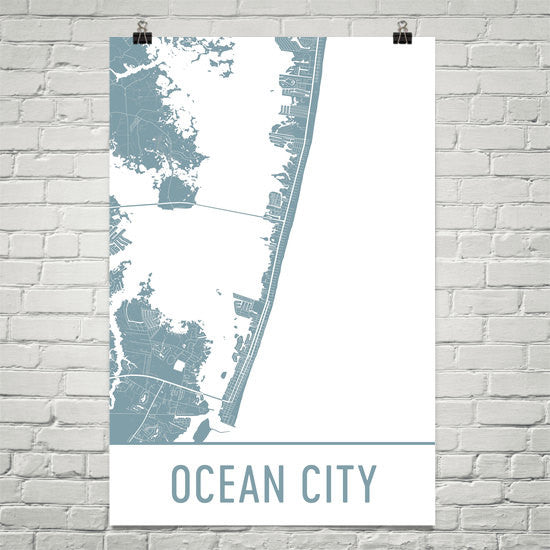 Ocean City MD Street Map Poster White