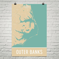 Outer Banks NC Street Map Poster Black