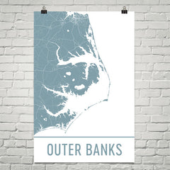 Outer Banks NC Street Map Poster White