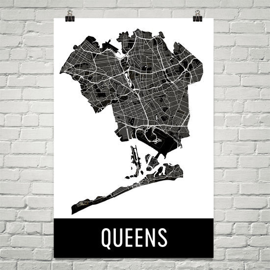 Queens NY Street Map Poster White