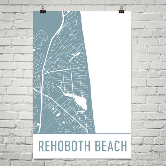 Rehoboth Beach DE Street Map Poster White