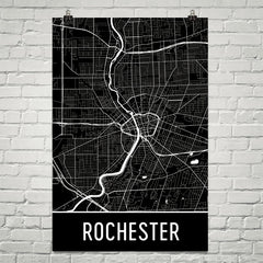 Rochester NY Street Map Poster Black