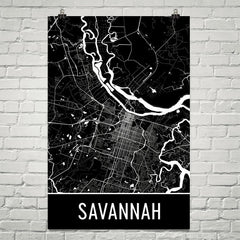 Savannah GA Street Map Poster Black