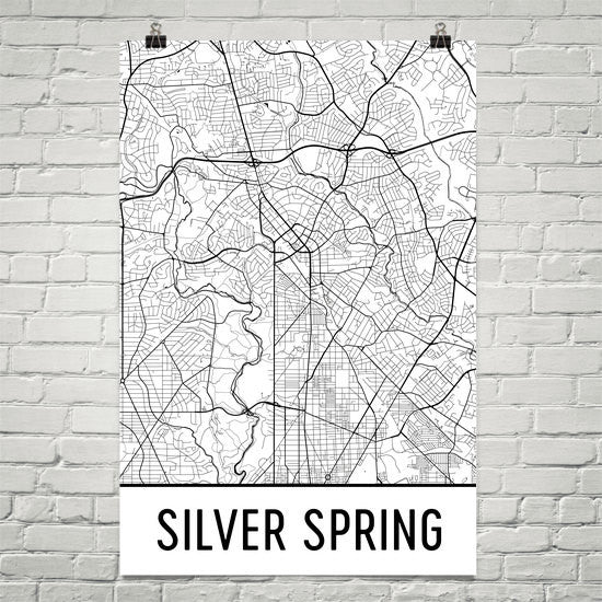 Silver Spring MD Street Map Poster White